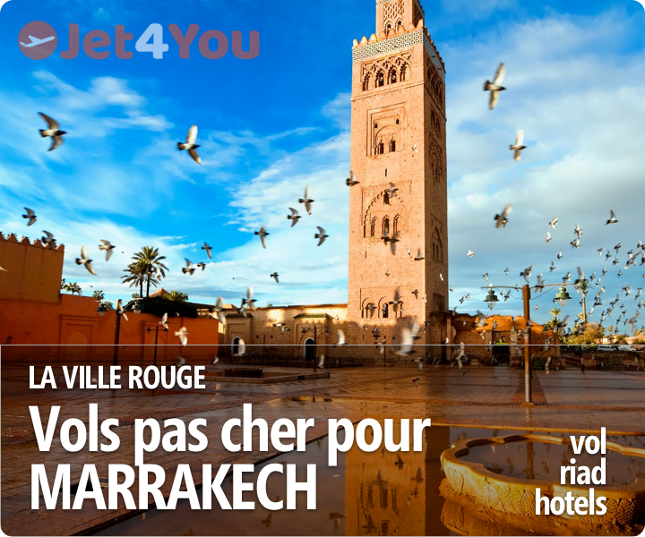 Vol pas cher et sélection d'hotels pour Marrakech